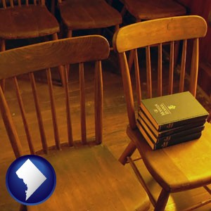 wooden chairs and hymnals in an old church building - with Washington, DC icon
